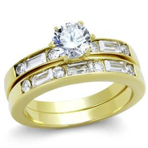 Gold Solitaire CZ Ring