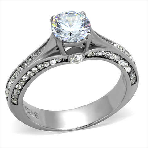 Dainty Clear CZ Round Solitaire Engagement Ring