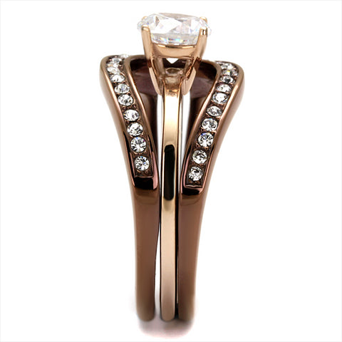 Rose Gold & Chocolate CZ Wedding Ring Set