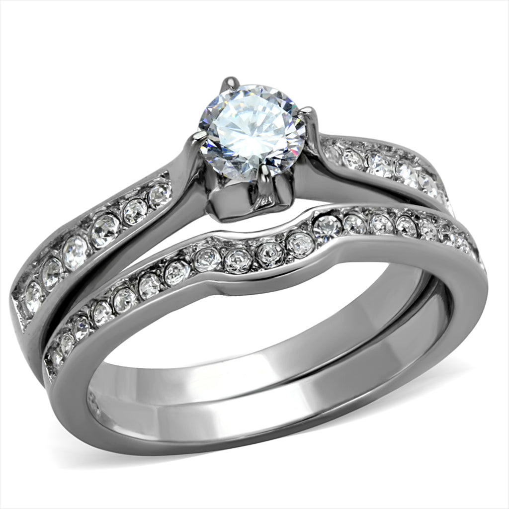 Simulated Diamond Silver Stainless Steel Wedding Ring Set