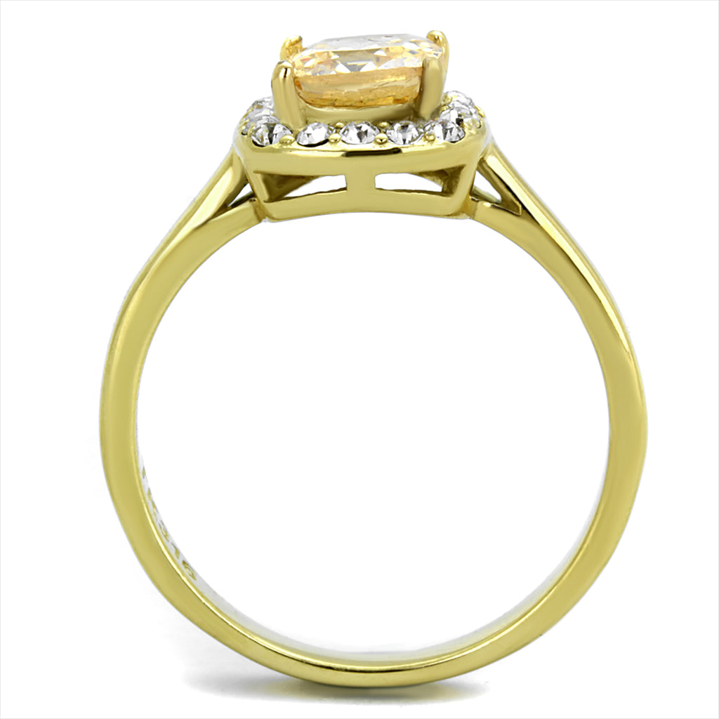 Champagne Emerald Yellow Gold Plated Ring
