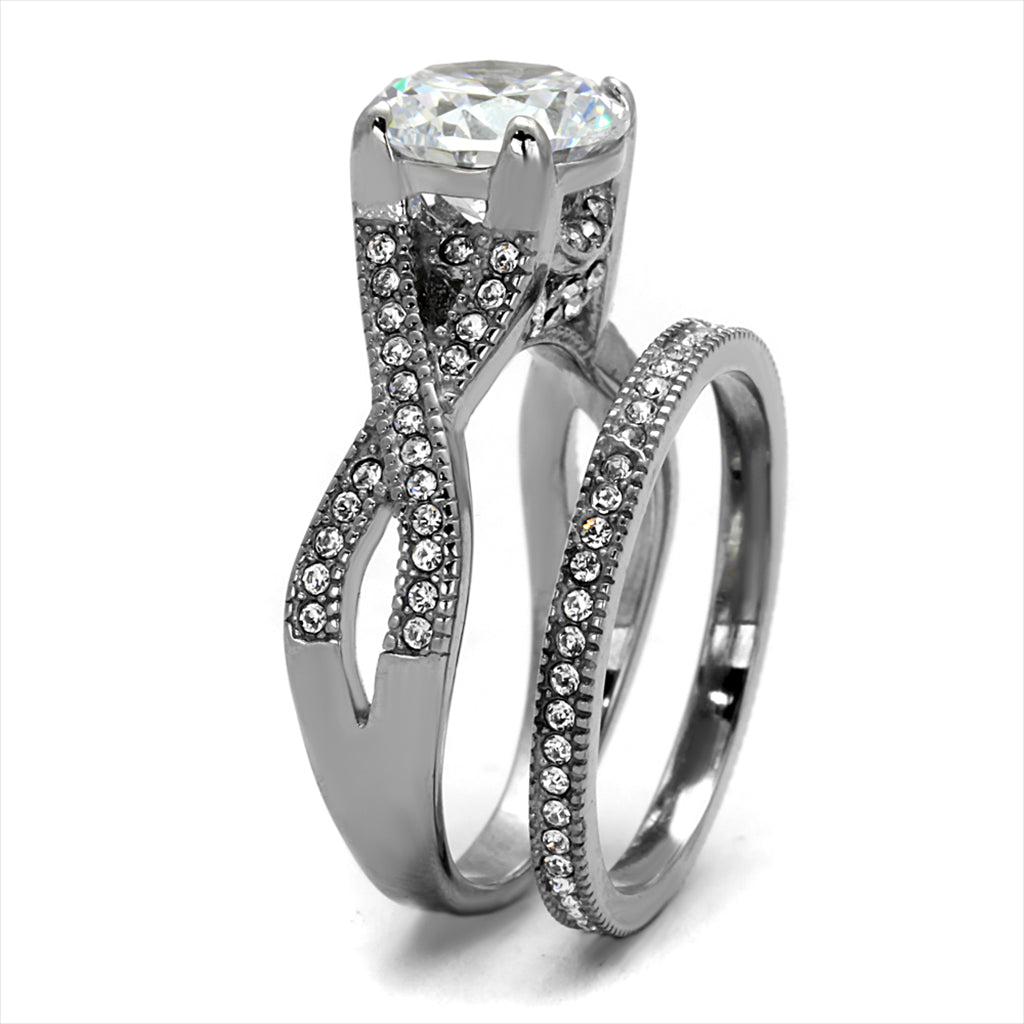Round Cut Vintage CZ Wedding Ring Set