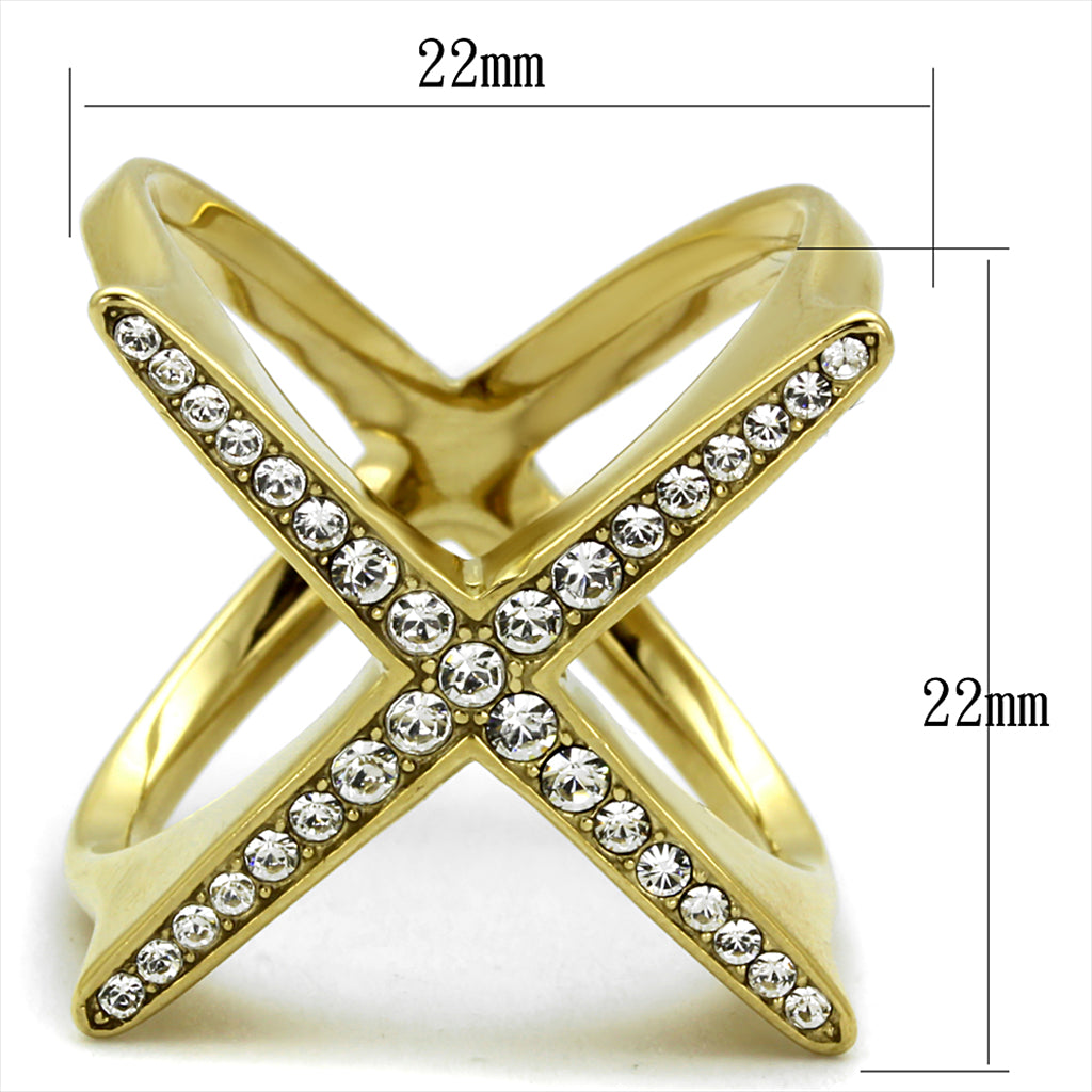 "Yellow Gold Plated ""X"" Delicate Cage Ring"