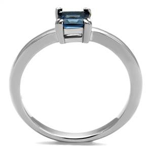 Blue Solitaire Minimal Ring