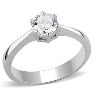 Two Tone Clear CZ Solitaire Ring