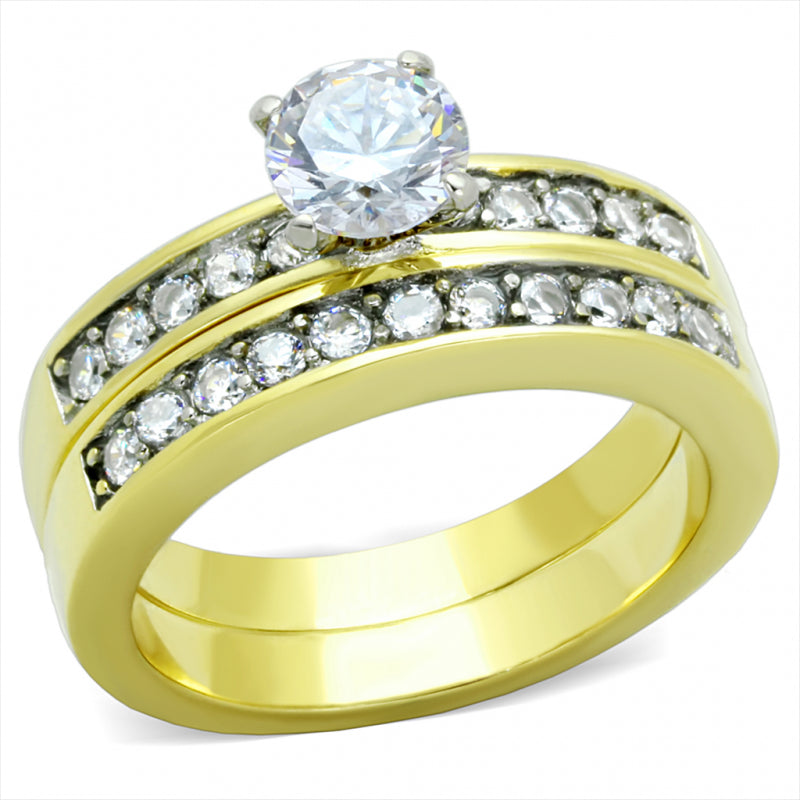 Yellow Gold Plated CZ Dual Row Wedding Set