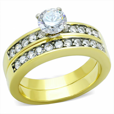 CZ Dual Row Wedding Set