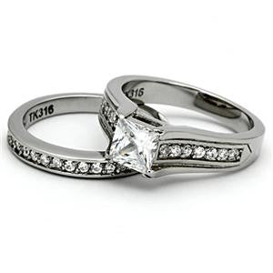 Princess Cut CZ Wedding Ring Set