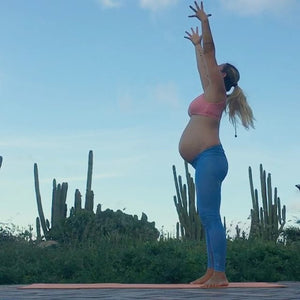 Yoga Girl Rachel Brathen does pregnancy yoga in FROM's Organic Yoga Bra
