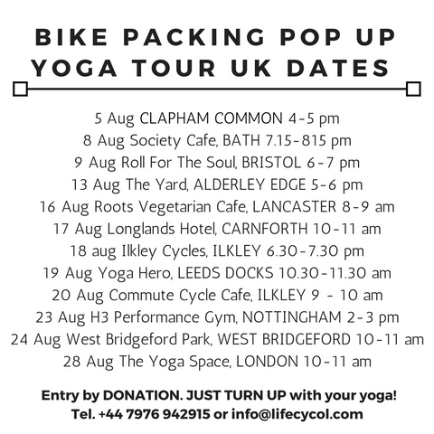 Lifecycol's UK Bike Packing Pop Up Yoga Tour