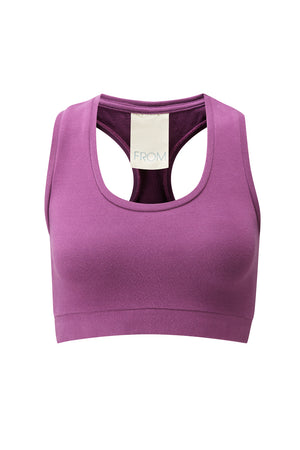 Organic Cotton Racer Back Sports Bra - Heather Pink