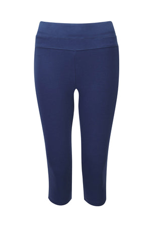From Clothing organic cotton 3/4 length yoga leggings in deep ocean blue