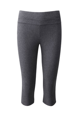 From Clothing organic cotton 3/4 length yoga leggings in dark grey marl