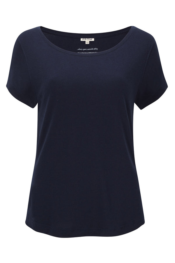 Merino Wool and Tencel™ short sleeve t-shirt top, in deep navy colour. Over sized style tee, loose flattering drape, feminine boat neck, wit...
