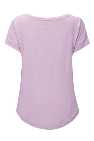 Merino Wool Tencel short sleeve t-shirt top, in light pink. Over sized style tee, loose flattering drape, feminine boat neck, with gentle scooped hem. LONGER at rear giving great bottom coverage!