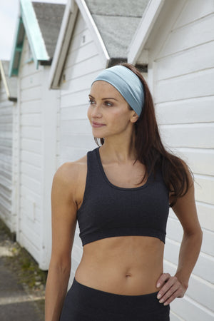 Organic Cotton Racer Back Sports Bra - Dark Grey Marl