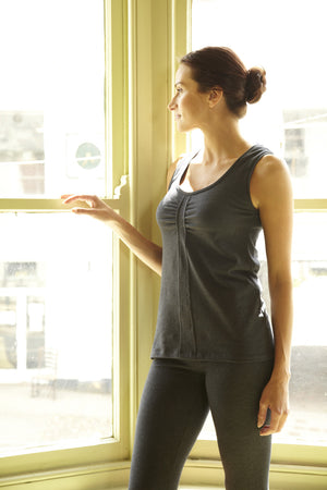 From Clothing Organic Cotton Yoga Vest Dark Grey Marl
