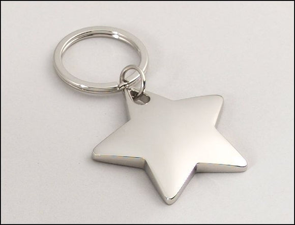 Polished Silver Star Keyring - On Course