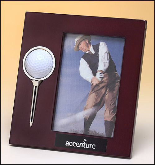 High Gloss Rosewood-Finish Picture Frame With Rotating Golfball And Silver Tee - On Course