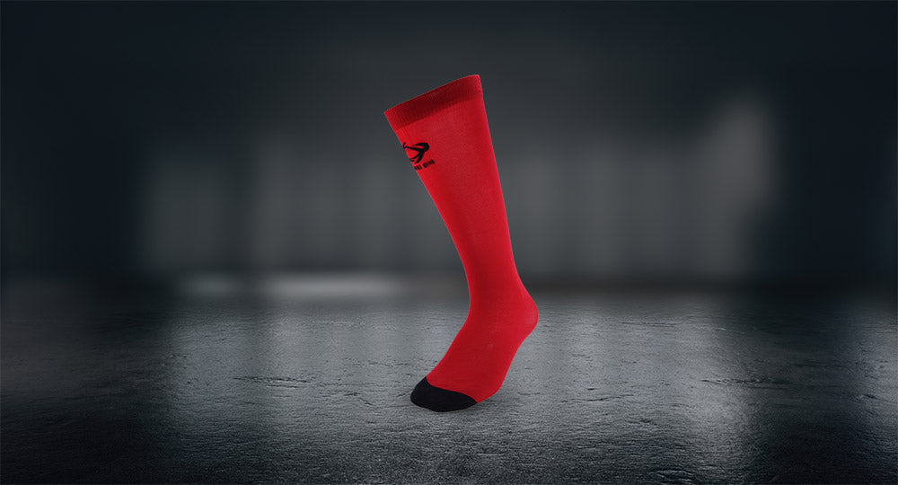 Thinees crimson red skating socks are a great alternative to going barefoot in your skates