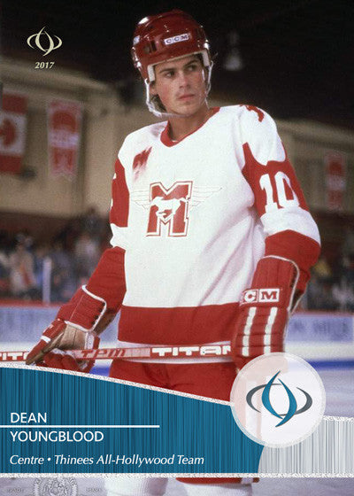 Dean Youngblood of the 1986 movie Youngblood is on the Thinees All-Hollywood Hockey team