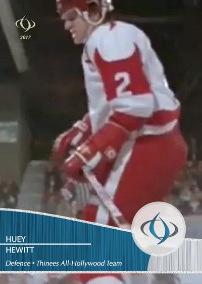 Huey Hewitt of Youngblood (1986) is a defenceman on the Thinees All-Hollywood Hockey team