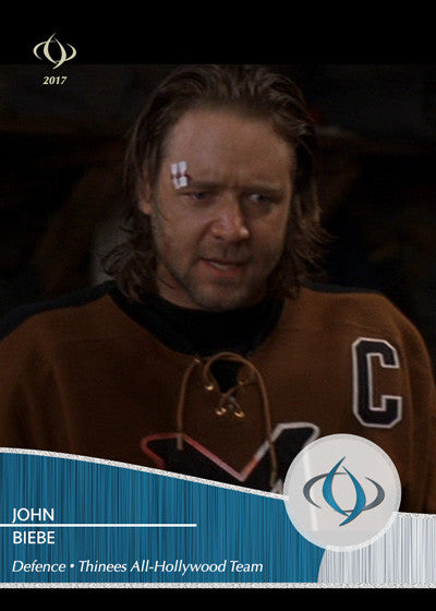 John Biebe, played by Russell Crowe, of Mystery, Alaska is on the Thinees All-Hollywood Hockey team