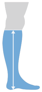 A graphic showing how high a Thinees long sock goes up on the leg