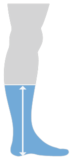 A graphic which shows a Thinees short sock going up to mid-calf on the leg