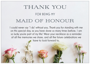 Maid Of Honour Thank You Necklace - Floral