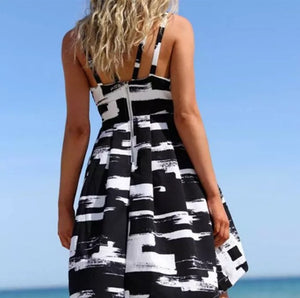 Black & White Summer Print Dress