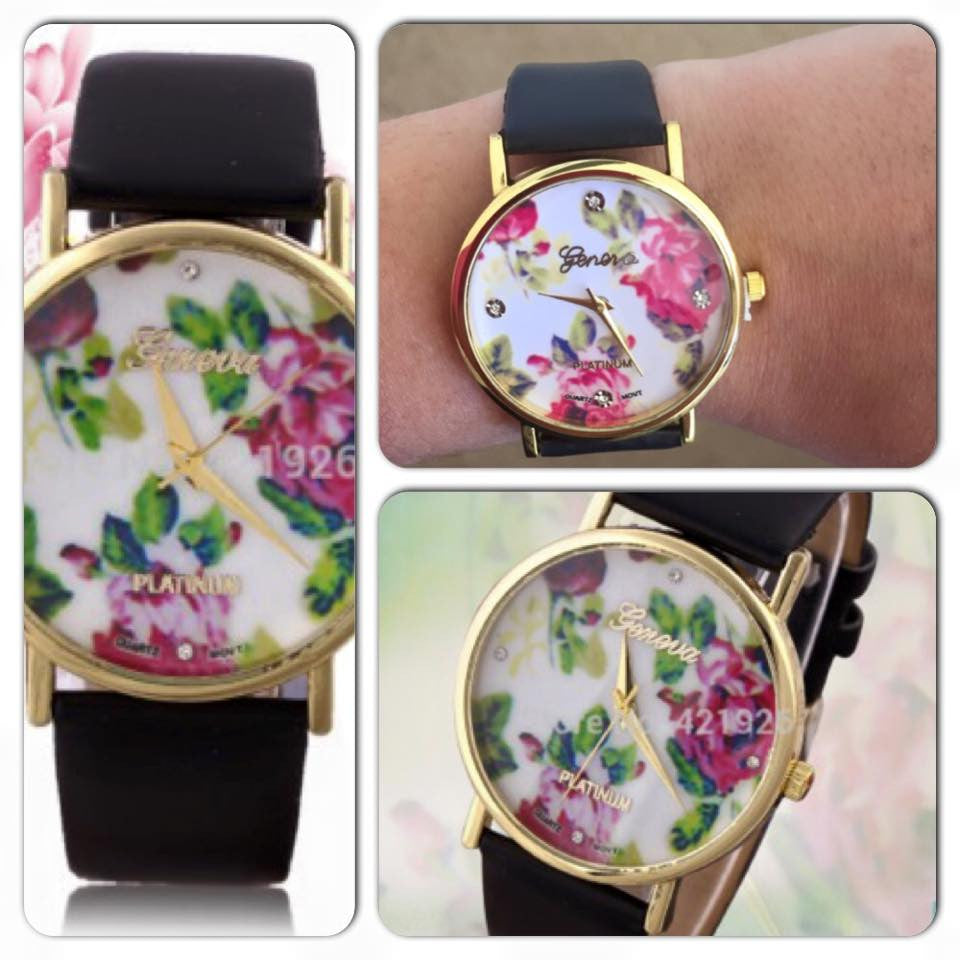 Womens Floral Watch (black)