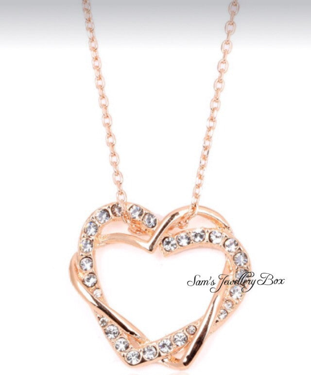 Heart diamanté necklace