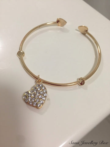 Gold plated heart bangle