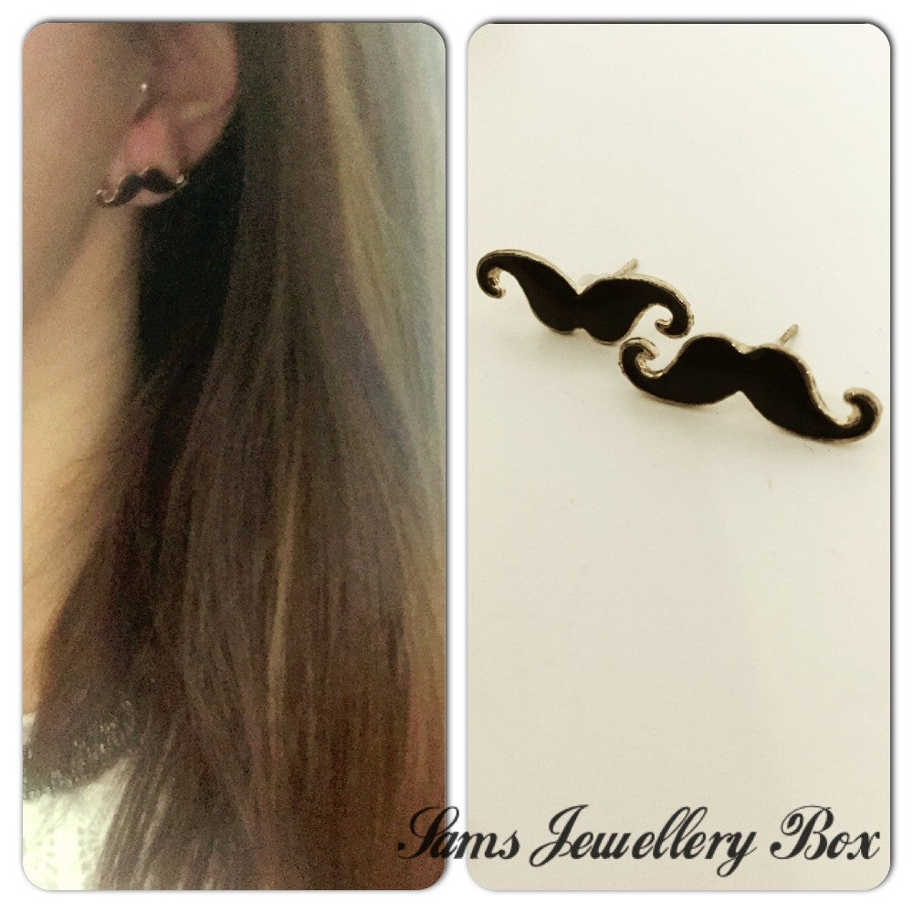 Moustache stud earrings