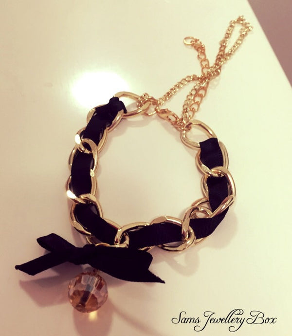 Black ribbon bracelet
