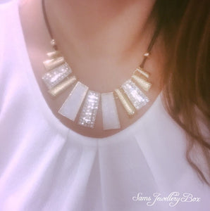 White jewel statement necklace