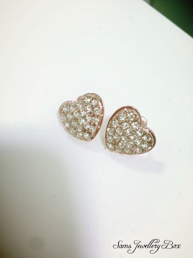 Heart diamanté stud earrings
