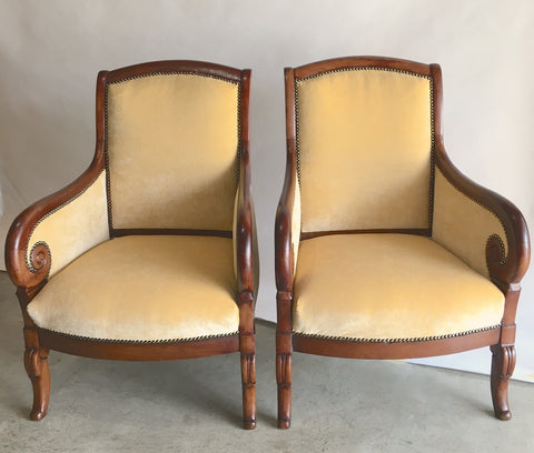 Pair French Walnut Armchairs