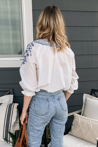 Honey Punch Navy Floral Crop Blouse