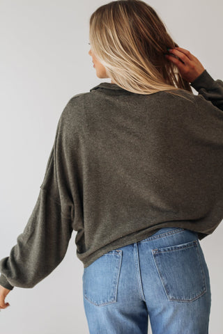 Grey Retro Striped Cropped Sweatshirt
