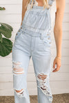 Distressed Boyfriend Denim Overalls