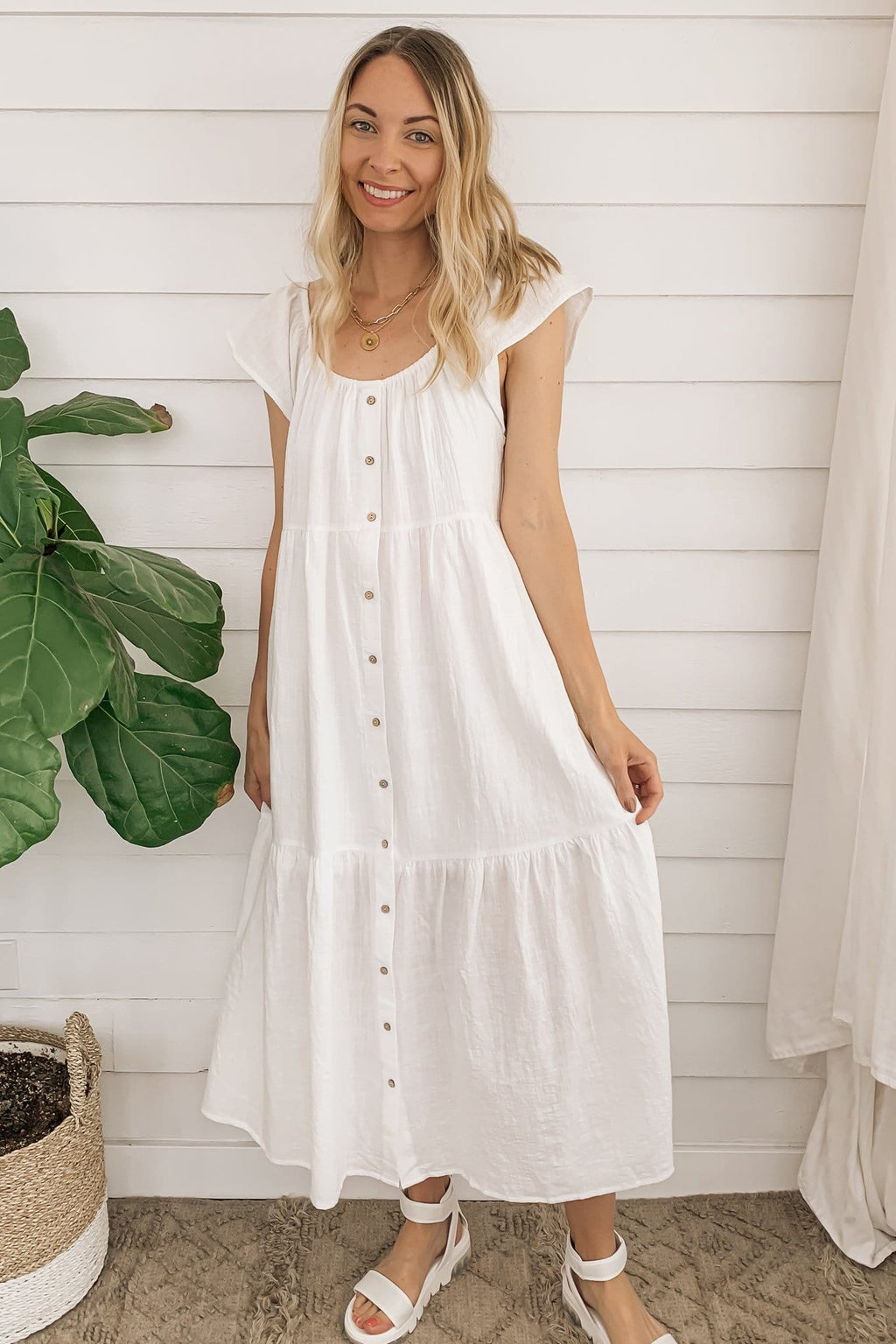 In My Head Cotton Midi Dress