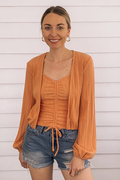 Coral Cotton Pin-Tuck Top
