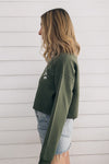 Out Of The Office Crop Sweatshirt - Olive