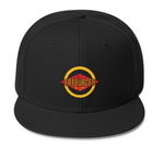 Image of a black fatburger snapback with the logo embroidered.