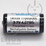 Protected 1100mAh 10A 18350 Button Top Battery - Side