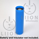 Blue 20700 battery wrap on battery with insulator