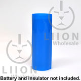 Blue 26650 battery wrap on battery side view