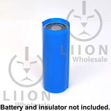 Blue 26650 battery wrap on battery with insulator